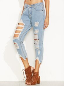 Blue Ripped Asymmetric Hem Jeans