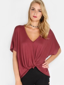 Knotted Drape Top BURGUNDY
