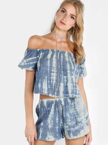 Bardot Tie Dye Shorts Matching Set DENIM