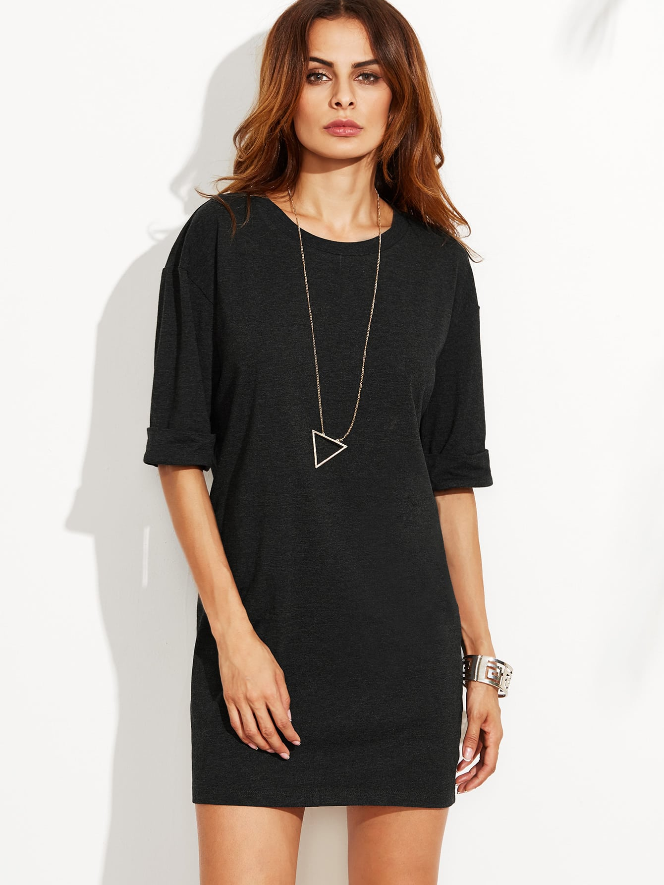 Heather Grey Drop Shoulder Roll Sleeve Tee DressHeather Grey Drop Shoulder Roll Sleeve Tee Dress<br><br>color: Grey<br>size: L,M,S,XS