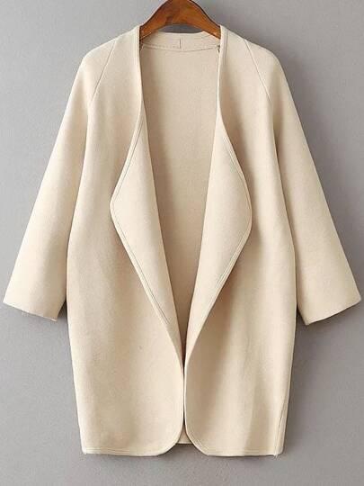 Beige Draped Collar Raglan Sleeve Long Cardigan
