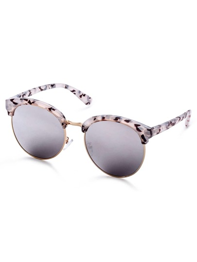 Black And White Leopard Print Frame Mirrored Lens Sunglasses