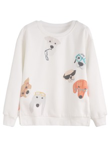 White Dogs Print Slit Side Sweatshirt