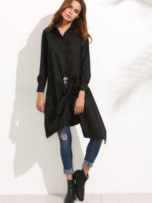 Black Long Sleeve Knotted Asymmetrical Blouse