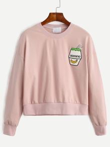 Sweatshirt Drop Schulter mit Stickereien - rosa