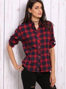 Red Plaid Roll Tab Sleeve Shirt