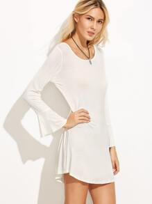 White Bell Sleeve Cutout Back Tee Dress