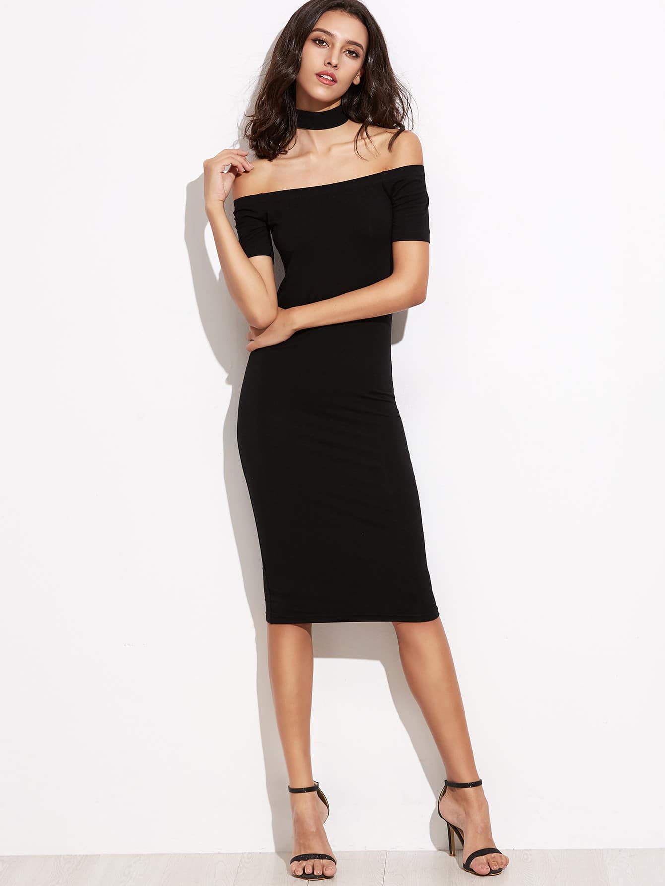 Фото Off Shoulder Pencil Dress With Choker. Купить с доставкой