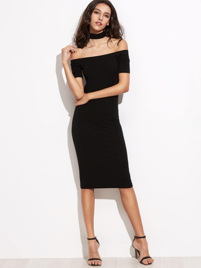 Off Shoulder Pencil Dress With Choker
