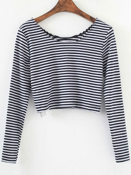 Black Striped Long Sleeve Crop T-Shirt tee160829205