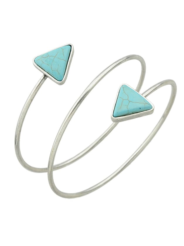 Antique Silver New Imitation Turquoise Cuff Upper Arm Bracelet For Women
