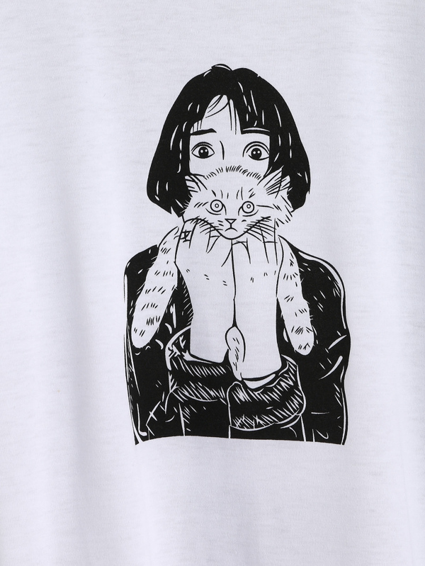 Girl Holding Cat Print Tee -SheIn(Sheinside)