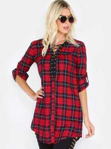 Lace Up Flannel Shirt Top RED
