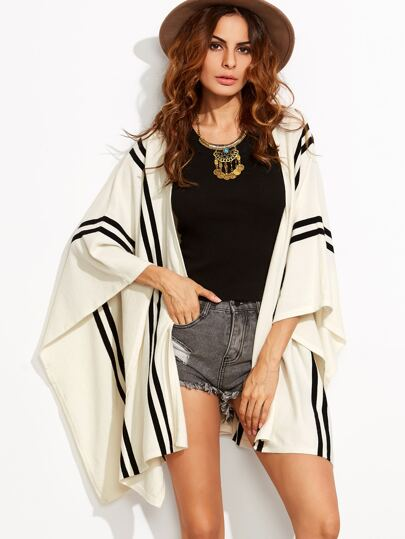White Striped Open Front Poncho Cardigan