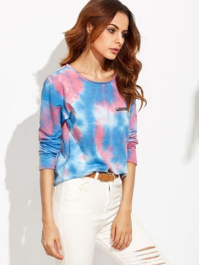T-Shirt Drop Schulter mit Batik Druck - blau