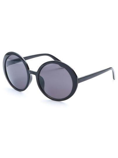 Black Frame Round Lens Retro Style Sunglasses