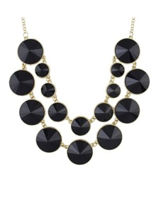 Black Double Layers Statement Necklace
