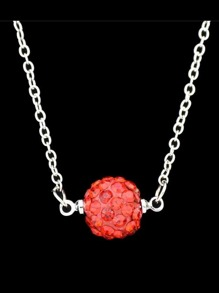 Red Imitation Crystal Ball Pendant Necklace For Women