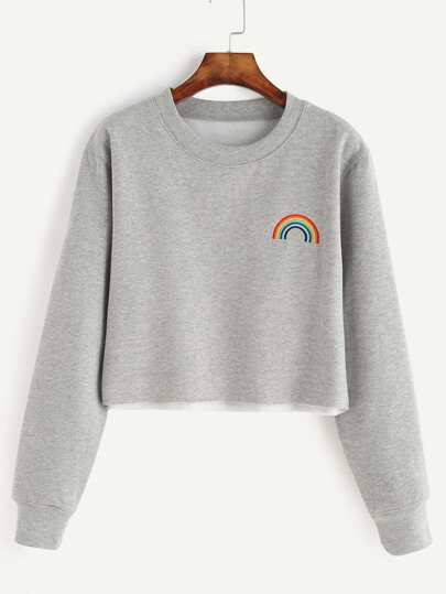 Grey Rainbow Embroidered Crop Sweatshirt