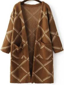 Brown Diamond Pattern Long Cardigan With Pockets
