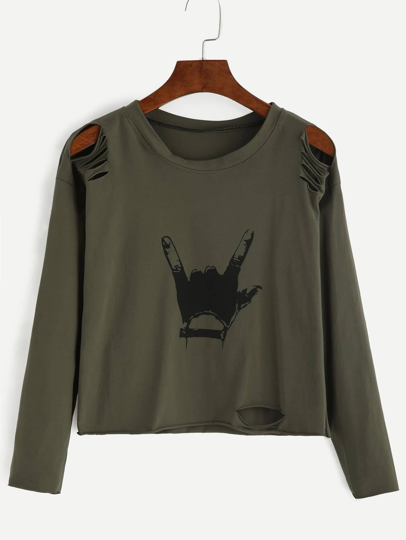 Army Green Gesture Print Distressed T-shirt tee160823105