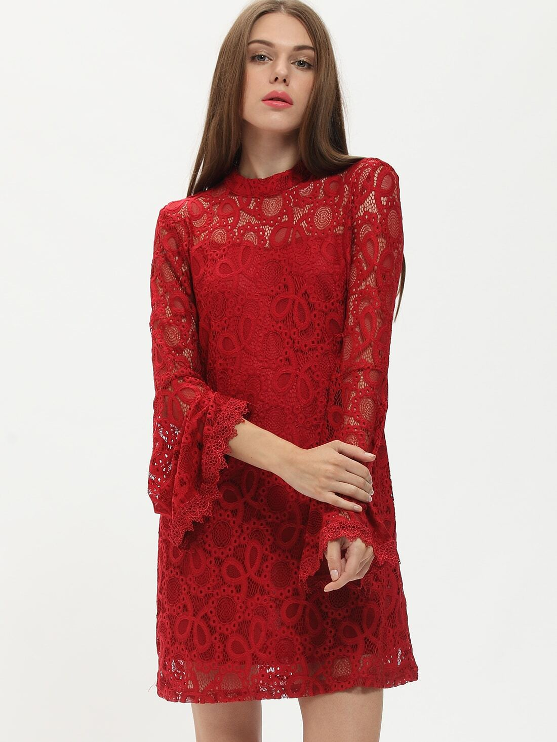 Burgundy Long Sleeve Lace Dress Shein Sheinside