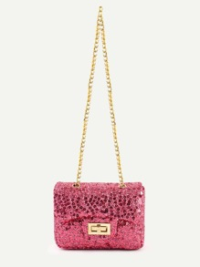 Hot Pink Sequin Flap Bag With Chain