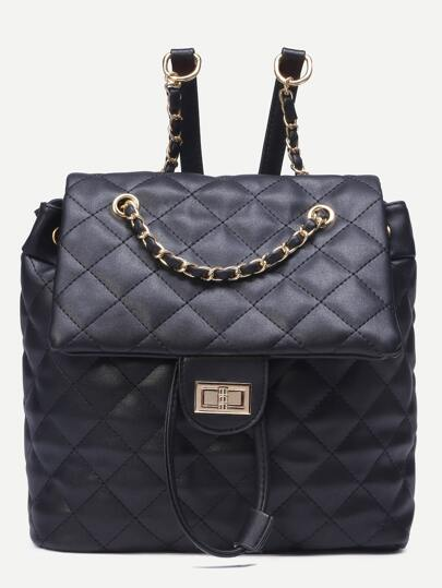 Black Quilted Drawstring Flap Backpack