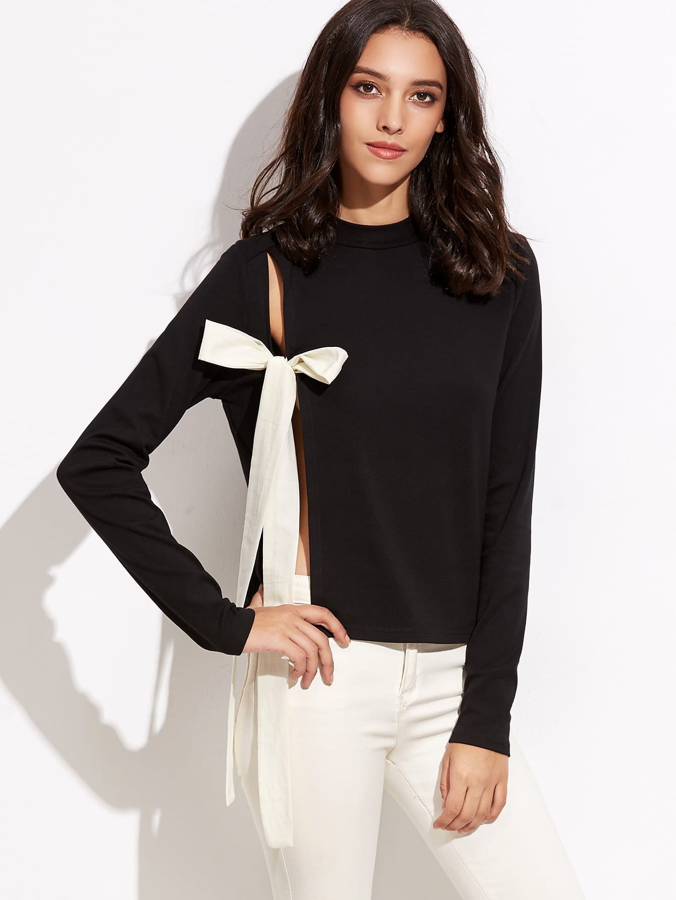 Mock Neck Split Bow Tie Front Tee lace up mock neck tee
