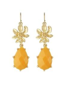 Yellow Gemstone Flower Drop Earrings