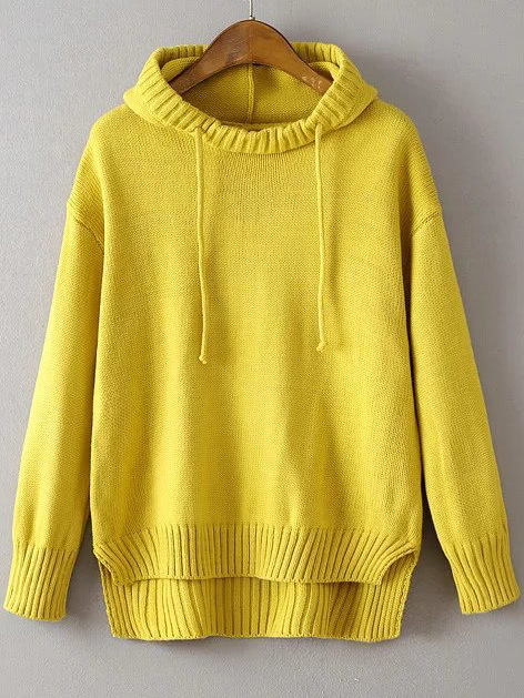 Yellow Ribbed Trim Drawstring Hooded Dip Hem Sweater sweater160830205