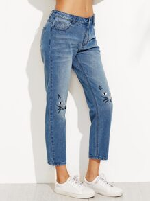 Blue Cat Embroidered Crop Jeans