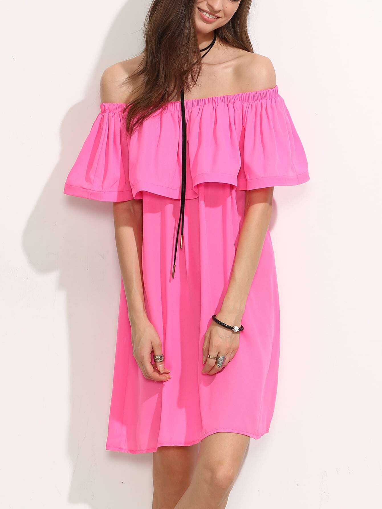 Hot Pink Ruffle Off The Shoulder Shift DressHot Pink Ruffle Off The Shoulder Shift Dress<br><br>color: Pink<br>size: L,M,S