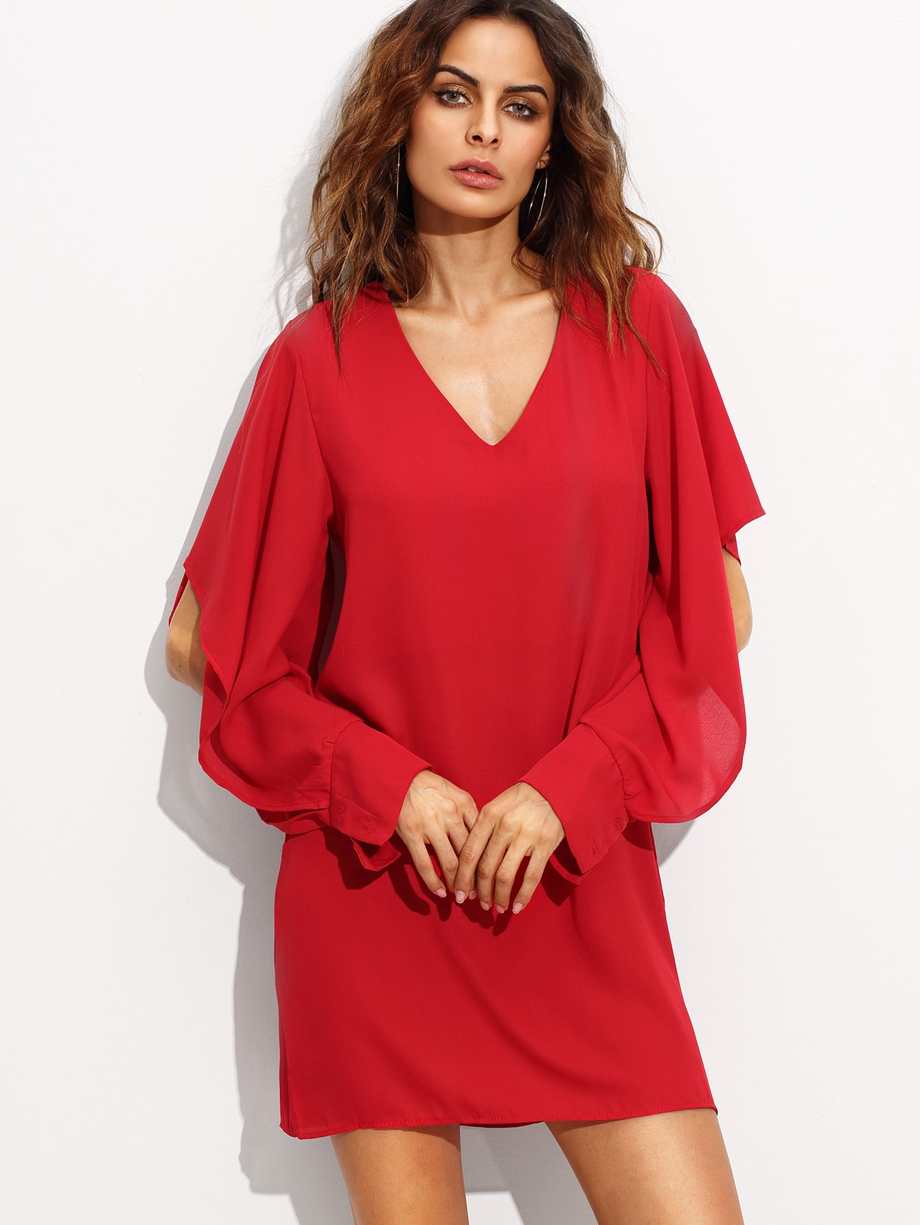 Red V Neck Slit Sleeve Chiffon Dress dress160805304