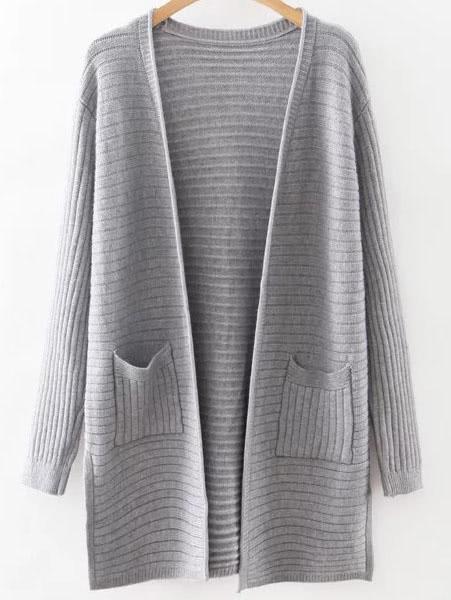 Grey Collarless Ribbed Split Side Pocket Long Cardigan sweater160815217