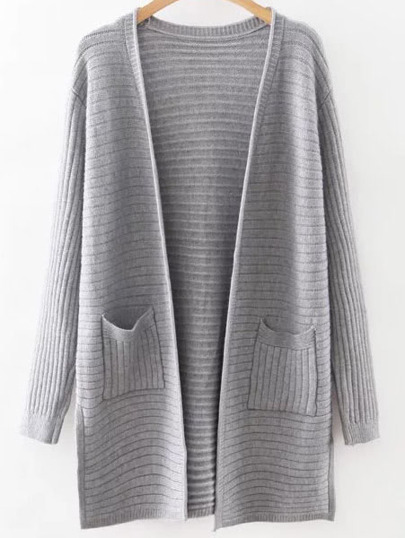 Grey Collarless Ribbed Split Side Pocket Long Cardigan