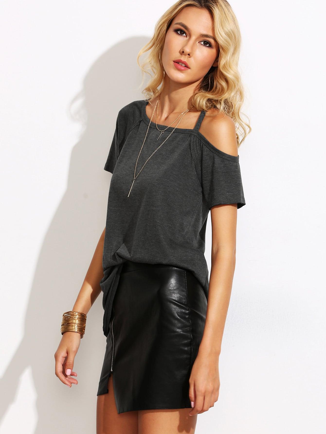 Фото Asymmetric Cold Shoulder T-shirt. Купить с доставкой