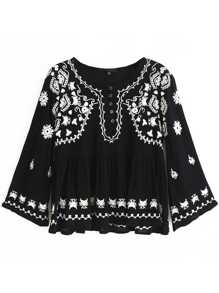 Black Embroidery Front Button Pleated Blouse