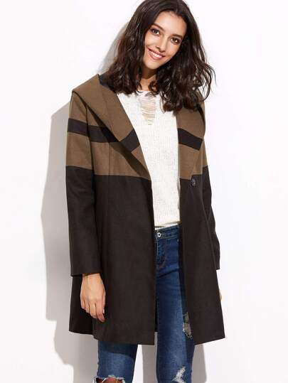 Black Contrast Panel Hooded Coat