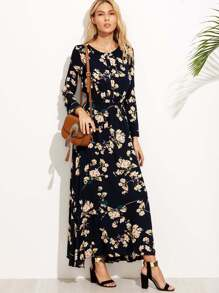 Calico Print Button Front Maxi Dress