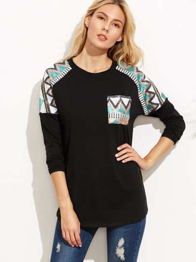 Sequin Yoke Detail Dropped Shoulder Tee