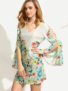 Multicolor Floral Cutout Back Split Bell Sleeve Dress
