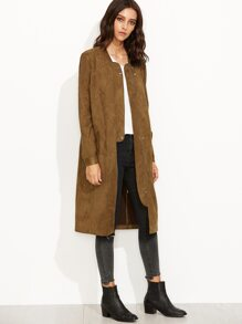 Coffee Suede Zip Up Longline Bomber Jacket