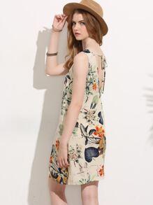 Vestido estampado sin manga holgado - multicolor