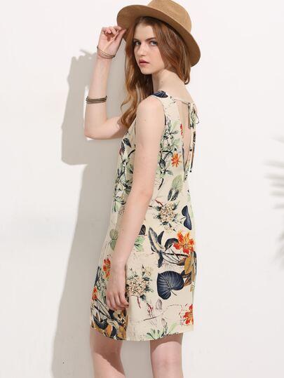 Printed V-cut Tie Back Tank Dress