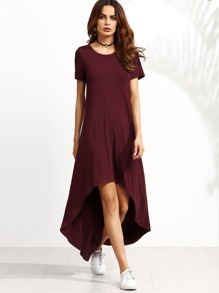Burgundy Short Sleeve High Low Dress