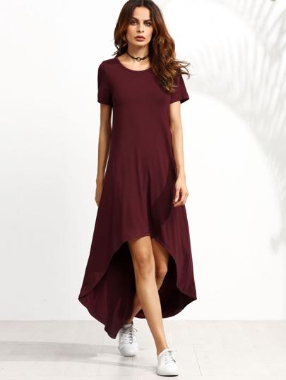 فستان عنابي بحافة متباينة الطول و كم قصير