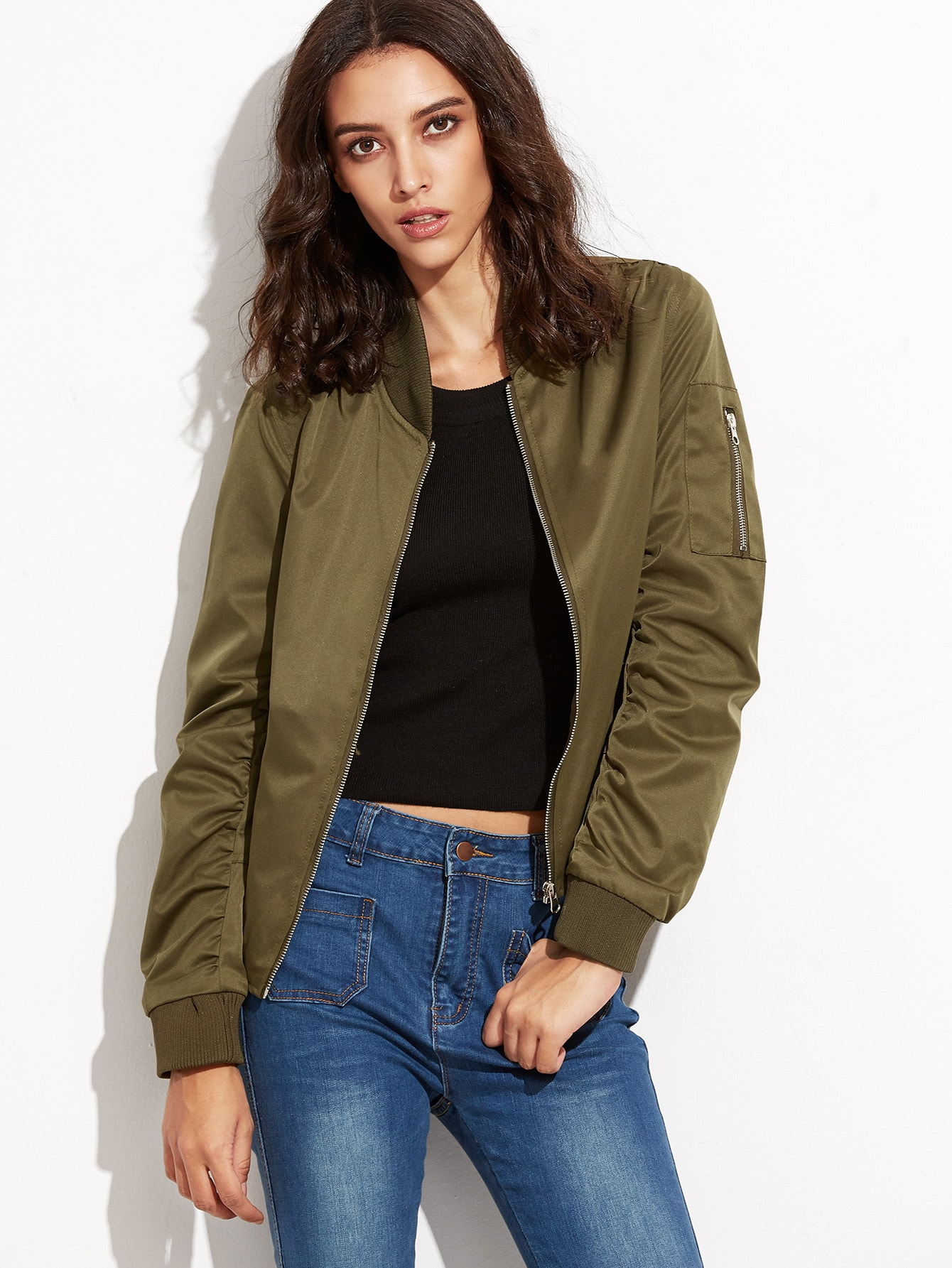 Army Green Zipper Up Flight Jacket With Pockets cougar 530m army green