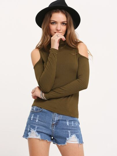 Army Green Off The Shoulder High Neck Rib T-shirt