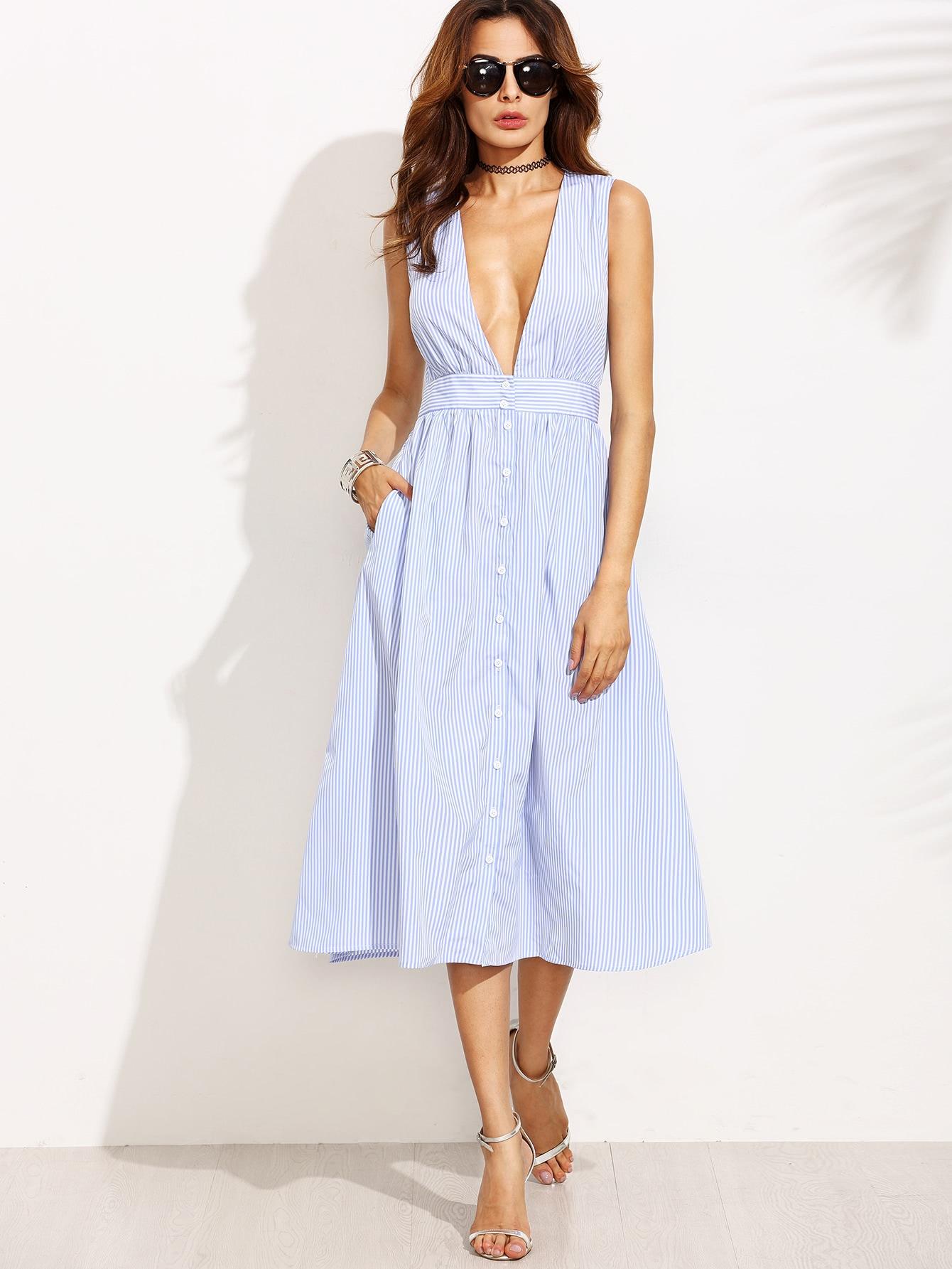 Фото Plunging V-Neckline Striped Button Front Flare Dress. Купить с доставкой